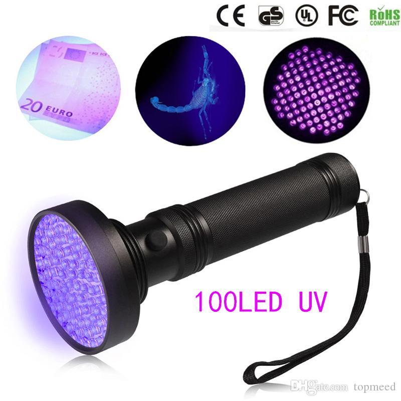 Sıcak 18 W UV Siyah Işık Feneri 100 LED En İyi UV Işık ve Anasayfa Otel Muayene için Blacklight, PET İdrar Limerleri LED Spot