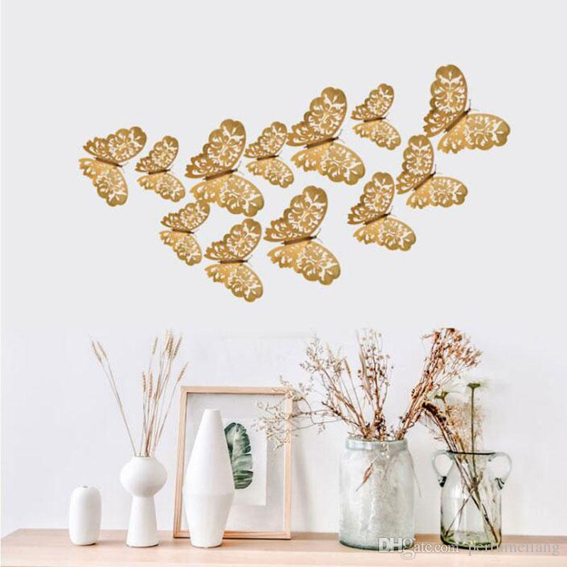 12 Pcs/Set 3D Wall Stickers Butterfly Hollow Paper 3Sizes Silver Gold For Fridge Home Party Wedding Decor QW8295