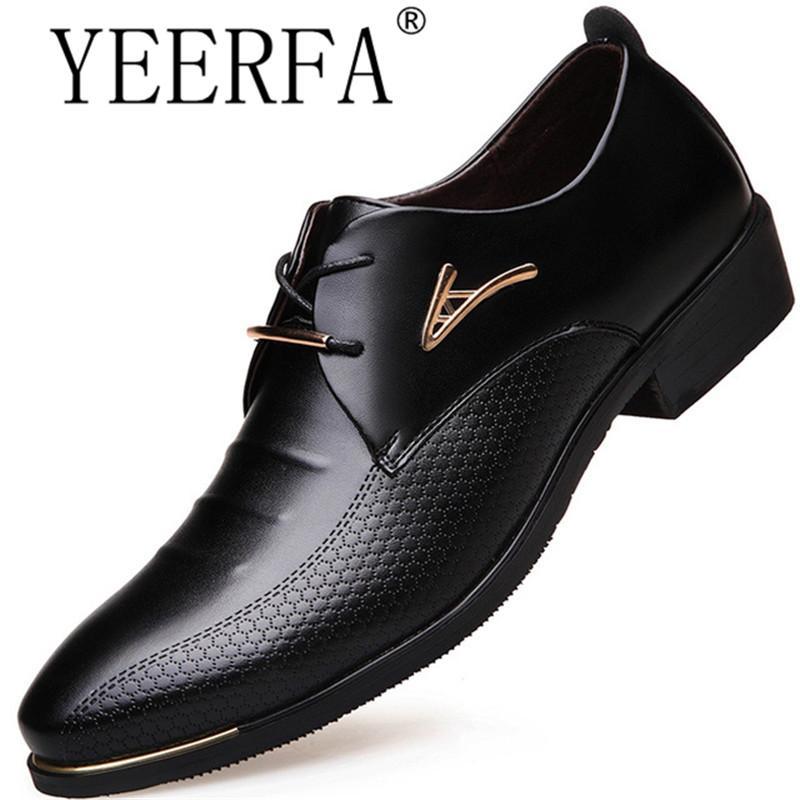 comprar popular f6cfd d0ceb Compre Zapatos De Vestir Para Hombres Punta Estrecha Con Cordones Zapatos  De Negocios Para Hombres Zapatos De Cuero Marrón Negro Oxford Para Hombres  ...