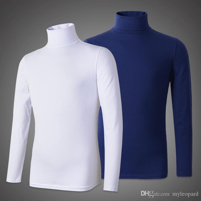 2 pz / lotto t shirt uomo manica lunga dolcevita tshirt cotone modale t-shirt uomo magliette top slim magliette strette t-shirt da uomo
