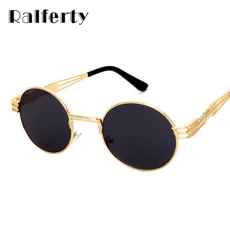 Ralferty Hipster Vintage Steampunk Güneş Erkekler Retro Buhar Punk Gotik Güneş Gözlükleri Kadınlar Altın Metal Yuvarlak Tonları UV400 óculos