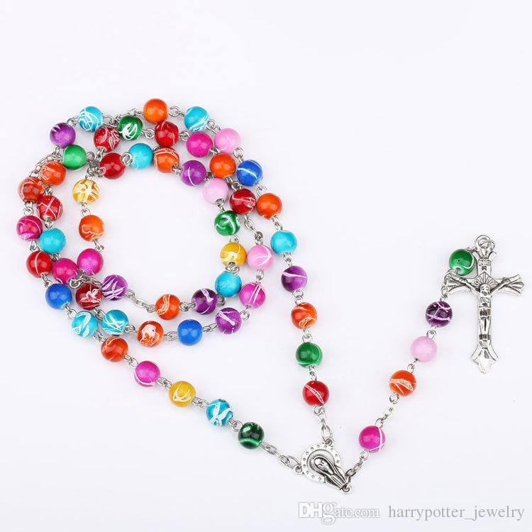 Renkli Polimer Kil Boncuk tespih kolye kolye haç Meryem centrepieces Hıristiyan Katolik Din hip hop takı dropship
