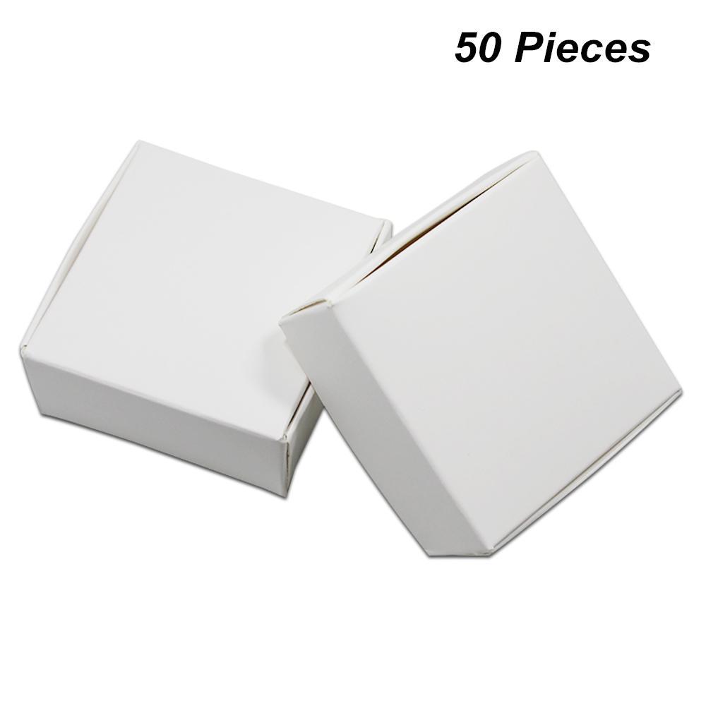 9 tailles disponibles 50 PCS blanc boîte de papier kraft cadeaux boîte d'emballage pour les bijoux bricolage savon savon bonbons boulangerie gâteau biscuits cuisson du chocolat Bo
