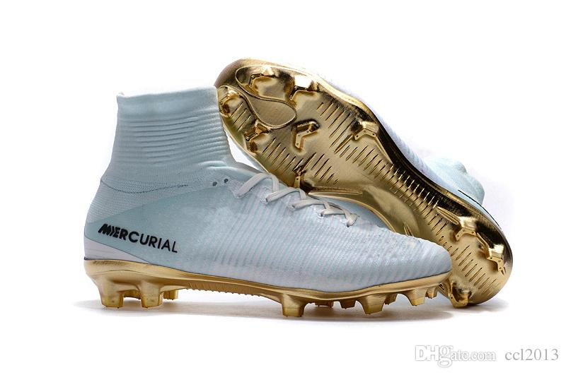 quality design dc5ef bde63 Original White Gold CR7 Kids Soccer Shoes Mercurial Superfly FG Womens  Soccer Cleats High Ankle Children Football Boots