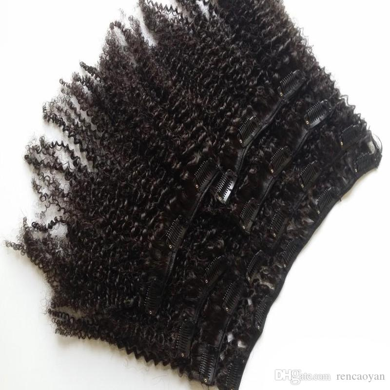 8 Pieces/Set Clip In Human Hair Extensions Brazilian Remy Hair 100 Gram 4B 4C Afro Kinky Curly Clip In Human Hair Extensions