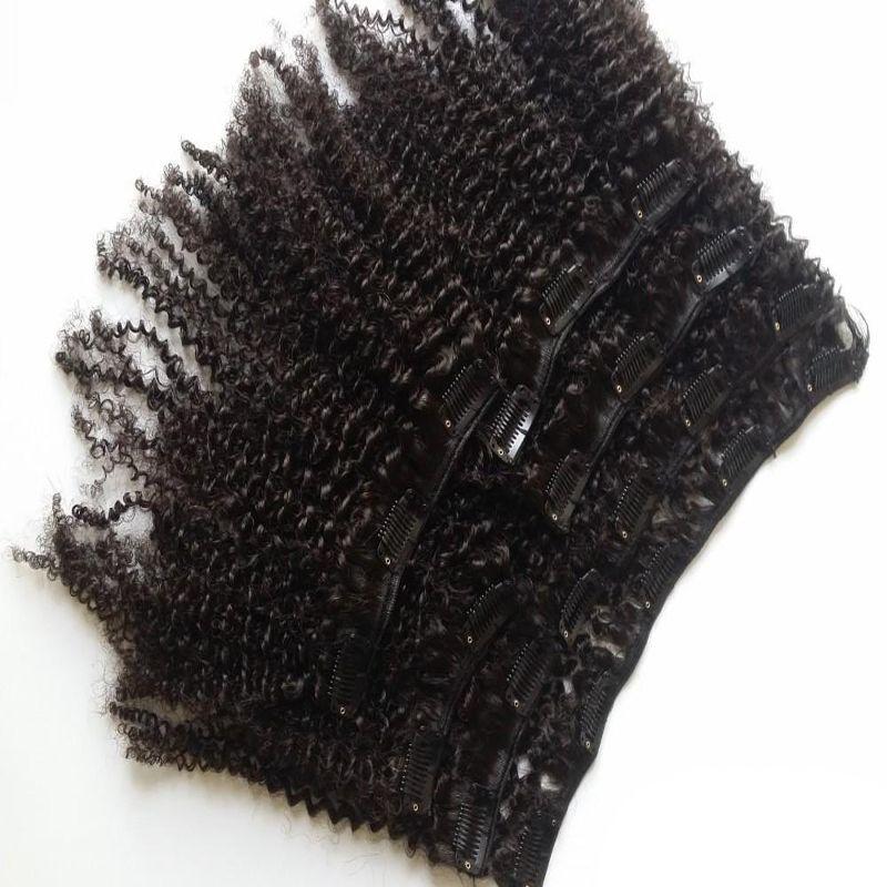 8 Peças / set Clipe Em Extensões Do Cabelo Humano Remy Cabelo Brasileiro 100 Gram 4B 4C Afro Crespo Encaracolado Grampo Em Extensões Do Cabelo Humano