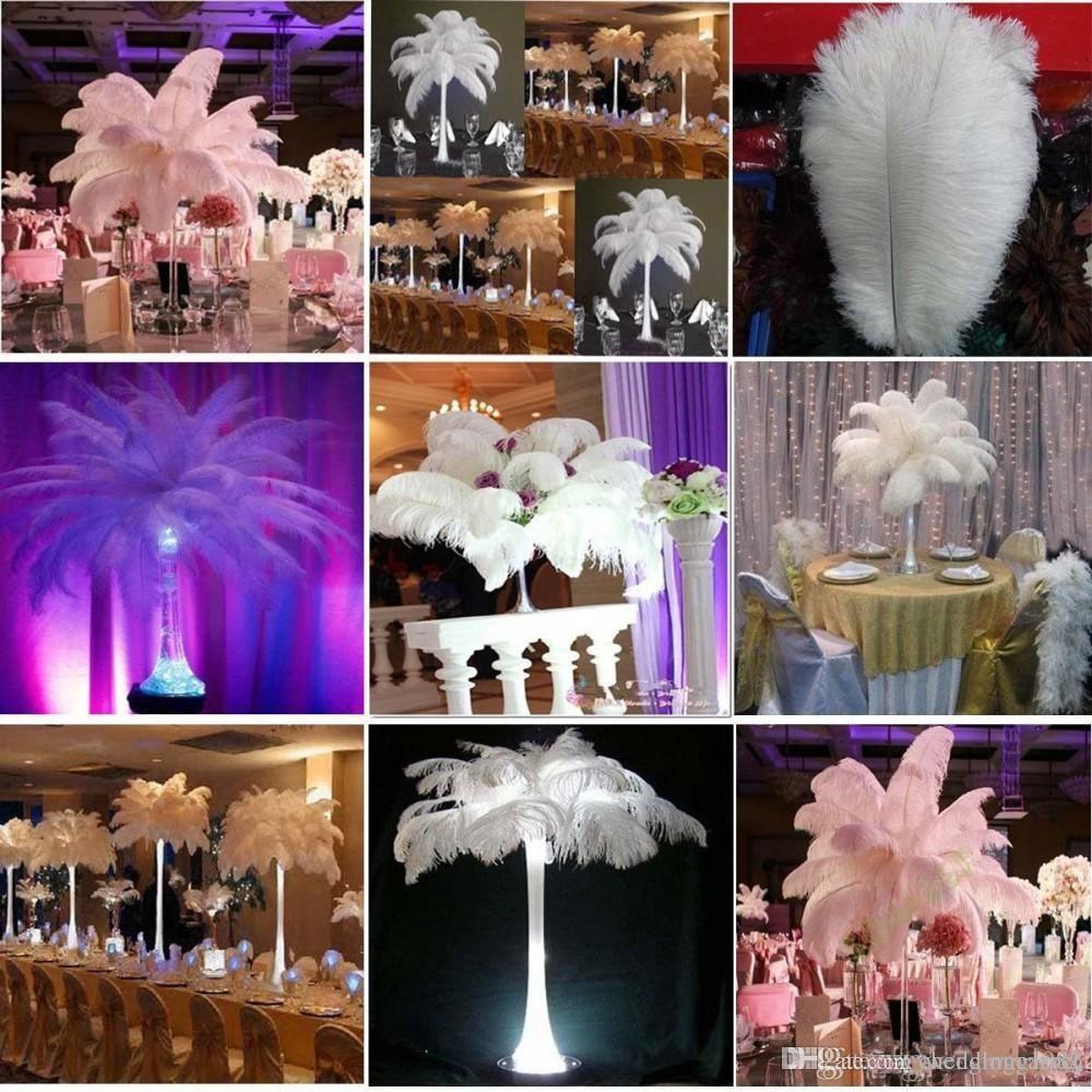 Оптовая 6-24 дюймов Белый черный красный розовый синий желтый зеленый фиолетовый роза перья страуса перо для свадьбы центральным столом центральным столом