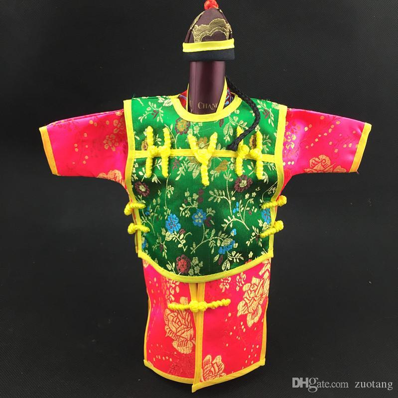 후드 중국 스타일의 와인 병 커버 가방 웨딩 크리스마스 테이블 장식 실크 브로케이드 와인 커버 병 의류는 750ML 30 개에 맞게 / 많은