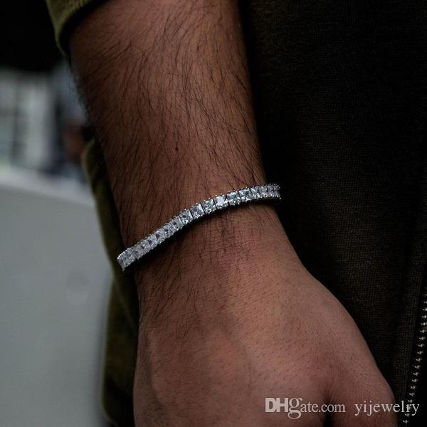 iced out sparking bling mens jewelry wedding engagement gift cz diamoond square tennis chain boy men bracelet bangle