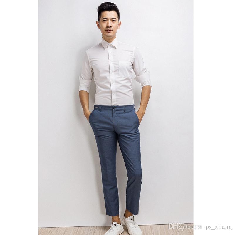 Compre Camisa De Vestir Blanca De Los Hombres Otoño Primavera Casuual Partido Ropa De Boda Para Hombres Camisas De Desgaste Del Novio Camisa De