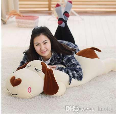 Супер мягкая собака плюшевые игрушки Kawaii Puppy Animal Baby Фаршированные Спящая собака Собака Подушка Подушка Детский подарок Симпатичные успокаивающие игрушки в продаже