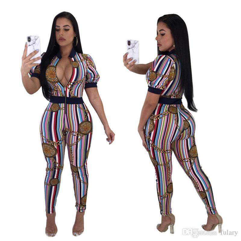 Women jumpsuits Skinny Bodycon Rompers Fashion striped print bodysuits Gym Sports Running Jogging Suit Short-sleeved baseball Cloth