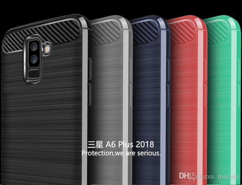 Für Samsung Note8 Note9 S8 S9 S Lite Plus Stoßfest Kohlefaser Pinsel TPU Rüstung Rüstung Zurück Abdeckung Telefon Fall Beutel Anti Schweiß