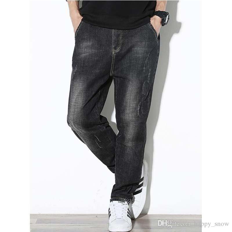 Fashion Jeans Summer New Jeans da uomo grandi taglie XXXXXXL Harlan Trouser Men Baggy Pantaloni larghi nero Harem Denim Bottom maschili