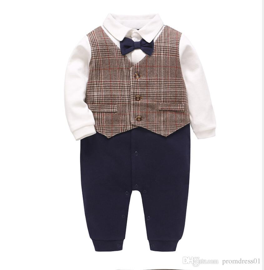 New Arrival Boy's Formal Wear Kids Formal Wear Dress Gentleman Baby Jumpsuit(Bow+Vest+Jumpsuit)
