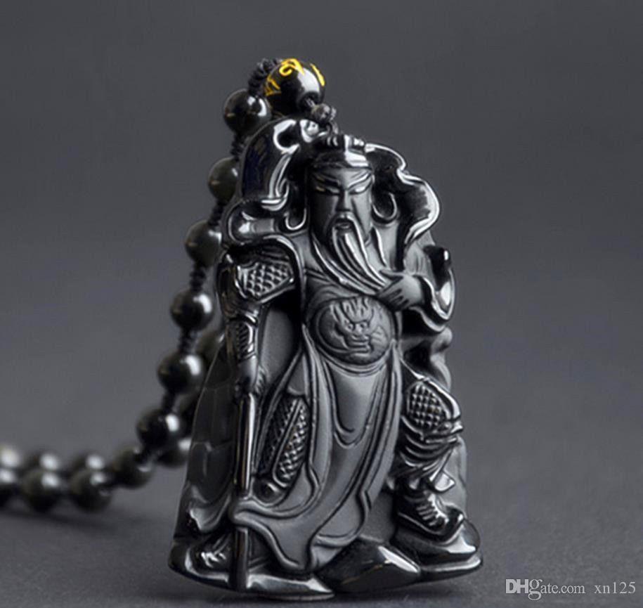 Natürliche Obsidian Stein Anhänger Obsidian Guanyu Lucky Charms Anhänger Guangong