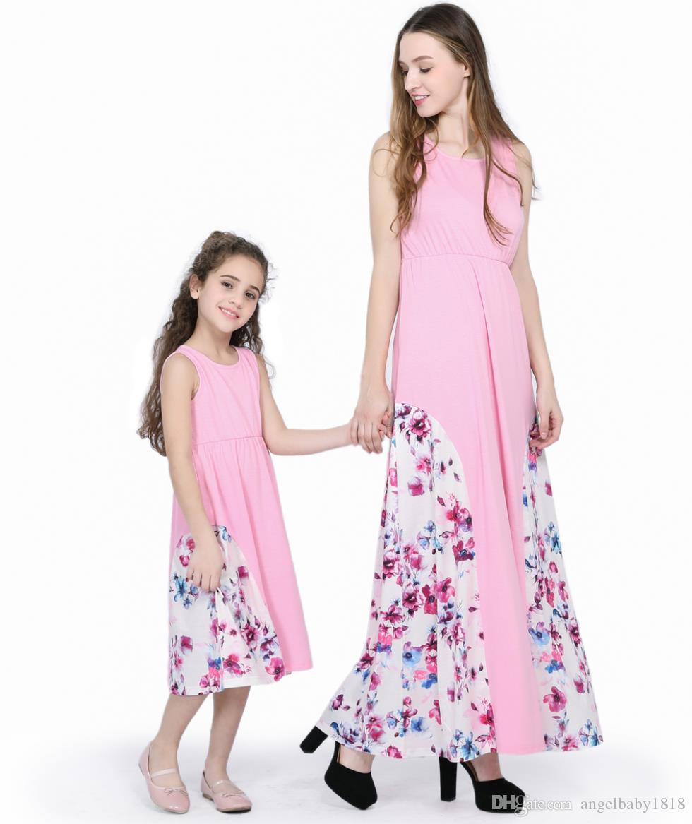 US Mother and Daughter Clothes Summer Dresses Family Matching Outfits Baby Girls