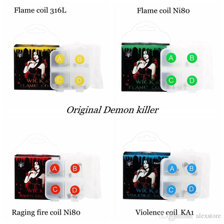 100% Authentic Demon Killer Premade Prebuilt Raging Fire Violence Flame Pre-built Coil NI80 Nichrome 316L Kit 8PCS Wire Muscle Cotton DHL