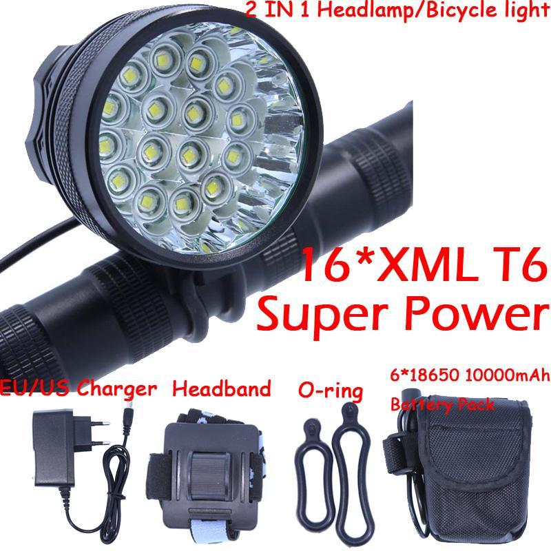 16T6 Nuevo 16 LED 2 en 1 20000LM 16 x XM-L T6 LED Luz de la bicicleta Ciclismo Faro de la bici Lámpara de la cabeza + Paquete de batería + Cargador