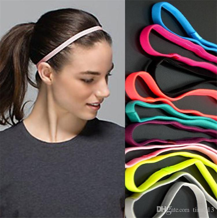 Banda para el cabello de los deportes de las mujeres Diadema elástica de la venda de la yoga solo Funcionamiento de la aptitud La venda antideslizante del silicón T4H0168