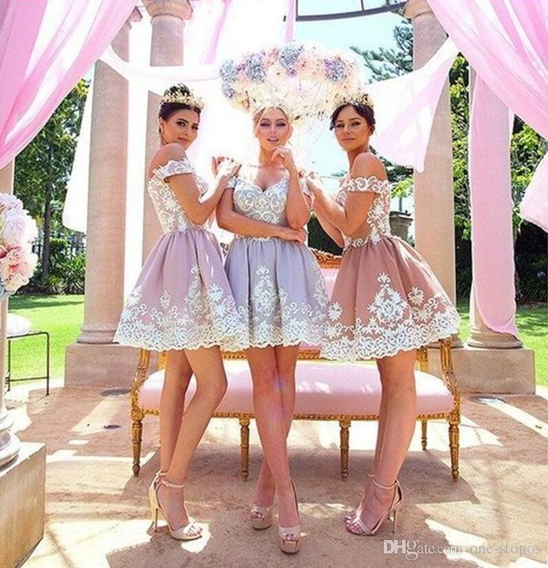 Stylish 2018 Short Bridesmaid Dresses Off Shoulder Lace Appliques Pleats Puffy A Line Wedding Party Gowns Cocktail Dresses