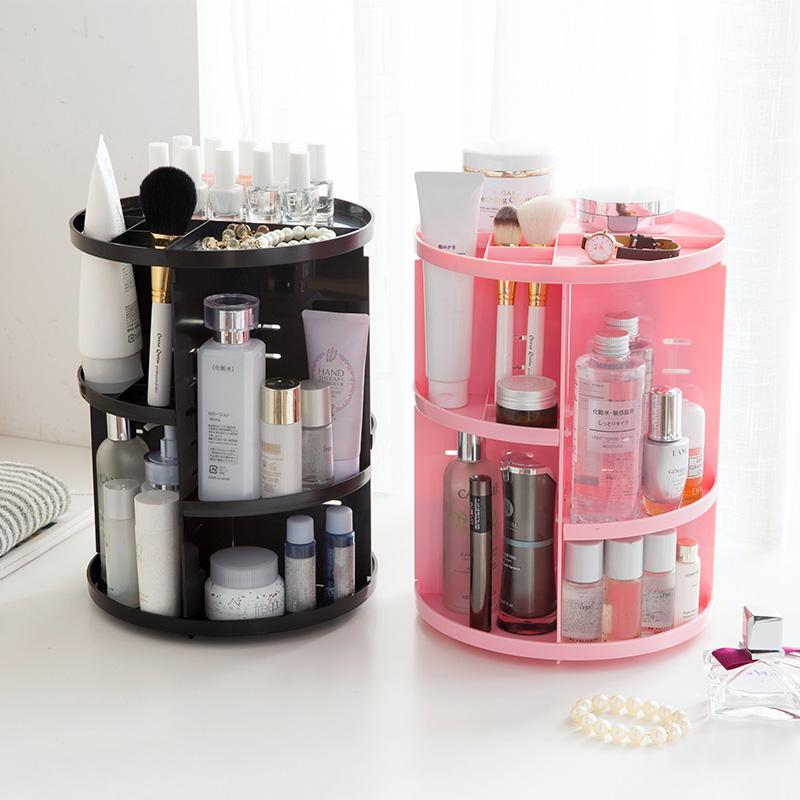 Organizador de Maquiagem Extra Grande Capacidade de 360 Graus de Rotação Ajustável Multi-Função Caixa de Armazenamento de Cosméticos Titular de Jóias De Plástico