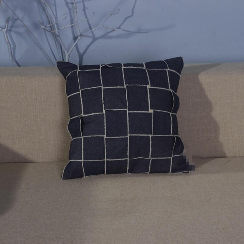 Cow Boy Cojín hecho a mano Cojines clásicos del bordado de algodón en tela de sarga azul Funda de almohada para el hogar Sofá decorativo