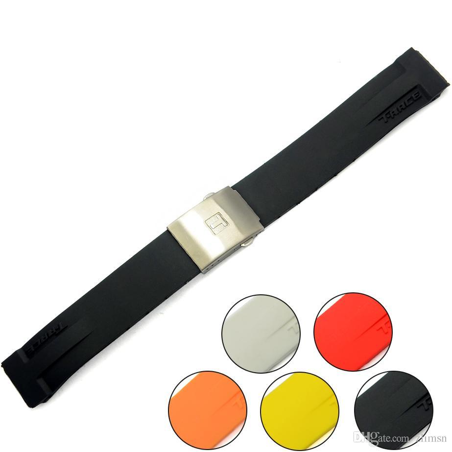 Para Tissot Pulseira Mnn Preto Multicor Silicone Rubber Diver Watch Strap Banda com Aço Inoxidável Deployment Clasp para T048 20mm