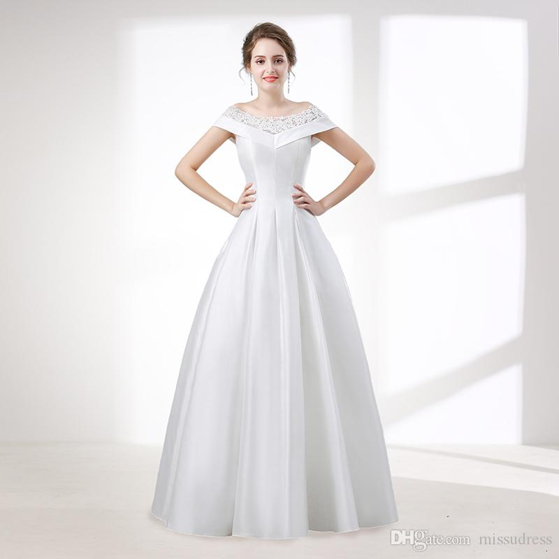 top-rated quality limited guantity search for newest Satin Vintage Wedding Dresses Off Shoulder Korean Simple Elegant Bridal  Wedding Gown Real Picture Floor Length Wedding Guest Dress Canada 2019 From  ...