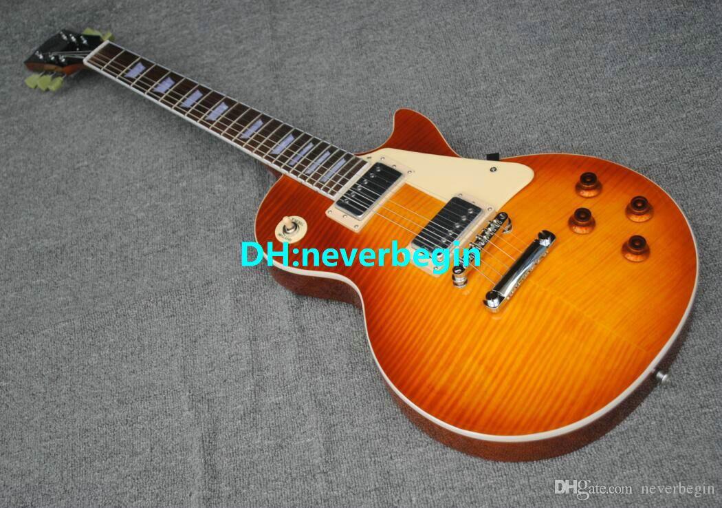 Venda por atacado - nova loja personalizada Tiger listrado maple guitarra elétrica frete grátis (aceitar qualquer cor personalizada)