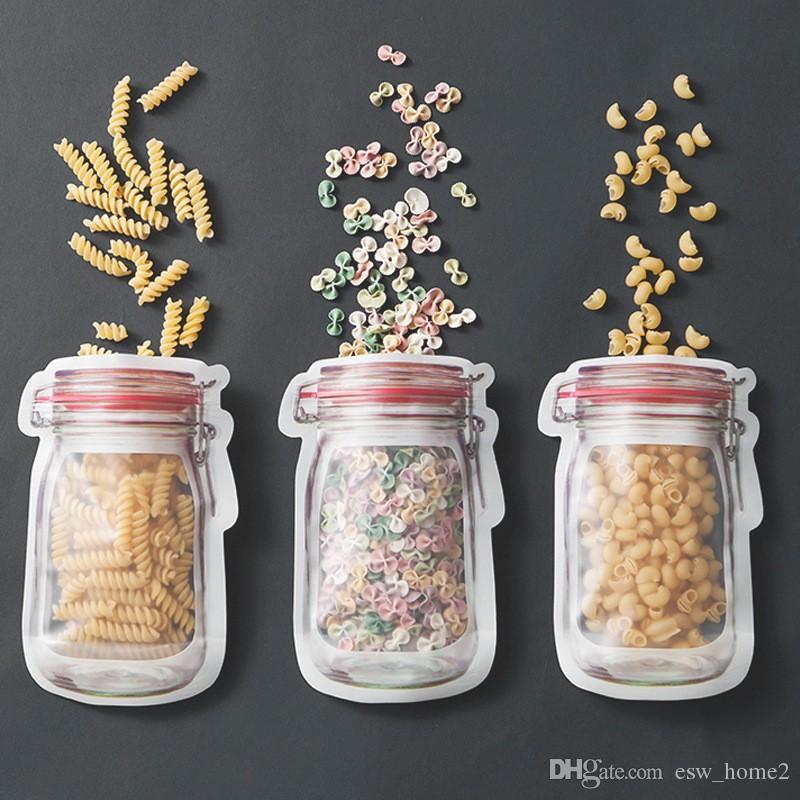 Großhandel Einmachglas förmigen Lebensmittelbehälter Plastiktüte klar Mason Flasche Modellierung Reißverschlüsse Lagerung Snacks Kunststoff-Box