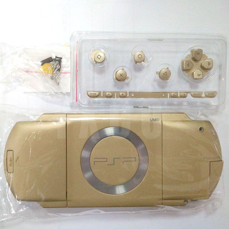 لون الذهب استبدال كامل الإسكان شل حالة الغطاء مع أزرار عدة لقطع PSP1000 PSP 1000 Game Console Repair Parts