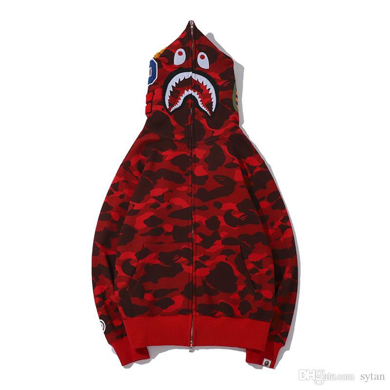 Mais novo Amante Camo Tubarão Imprimir Camisolas de Algodão Camisola dos homens Casuais Roxo Vermelho Camo Cardigan Casaco Com Capuz Tamanhos M-2XL