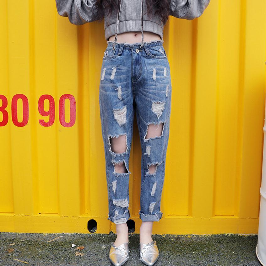 810f7bdbbca60 2019 2XL 7XL Plus Size Can Fit 100kg Hole Ripped 100% Cotton Jeans 2018  Women Fashion Brand Was Thin Ankle Length Pants Jeans Wj2498 From  Sacallion