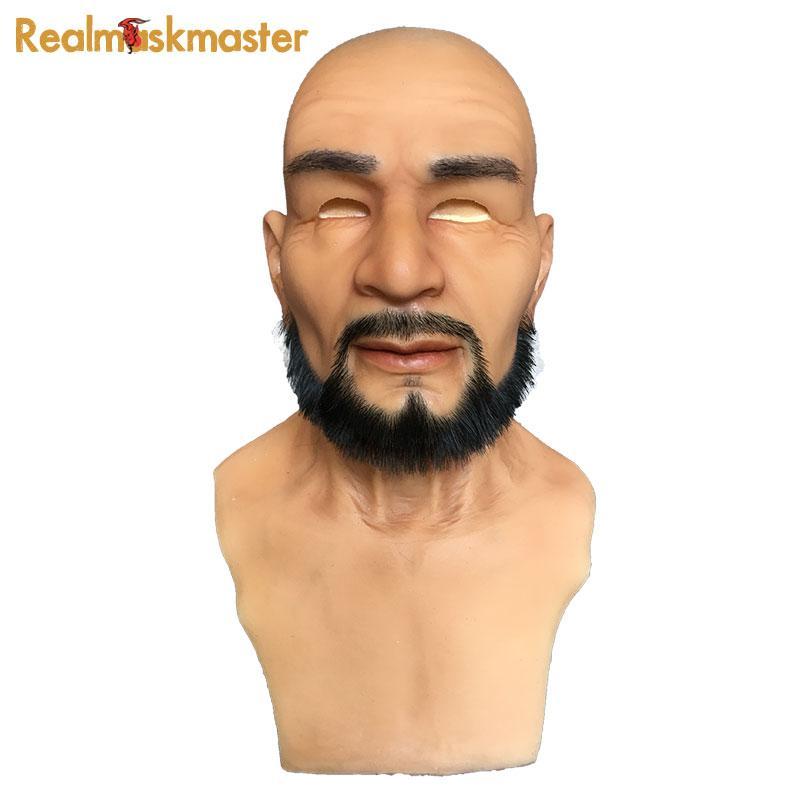 Atacado adulto silicone máscara facial para o homem fontes do partido fetiche artificial falso máscaras de halloween látex masculino realista