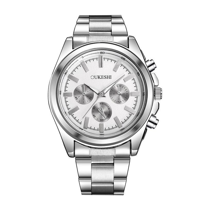 Три глаза стальной ремешок мужские часы водонепроницаемый сплав кварцевые часы Наручные часы