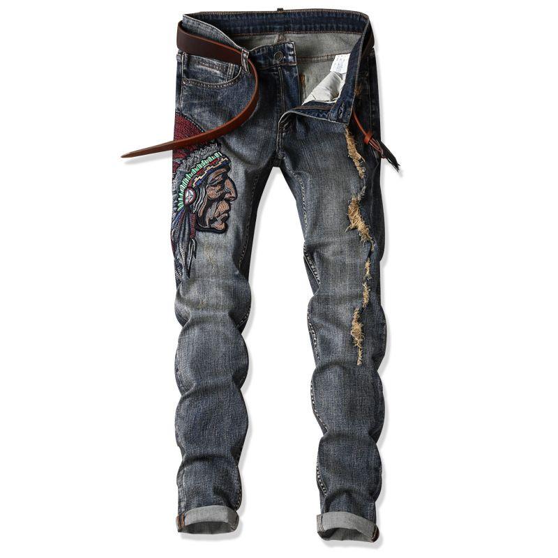 Jeans de alta qualidade índios Moda Borde Retro de New Men rasgado Magro Rua jeans reta Mais de AF1701 Tamanho