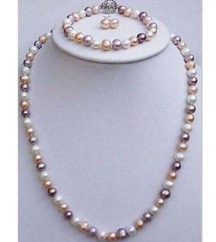 9-10mm South Sea Beaded Necklaces Multicolor Pearl Necklace Free Bracelet Earring 18 inch 925 Silver Accessories