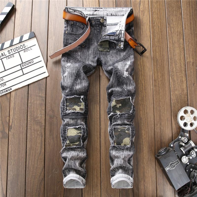 2018 New Street Style Retro Grey Color Elastic Jeans Men Hole Straight Jeans Vintage Homme Casual For Men Size 29-38