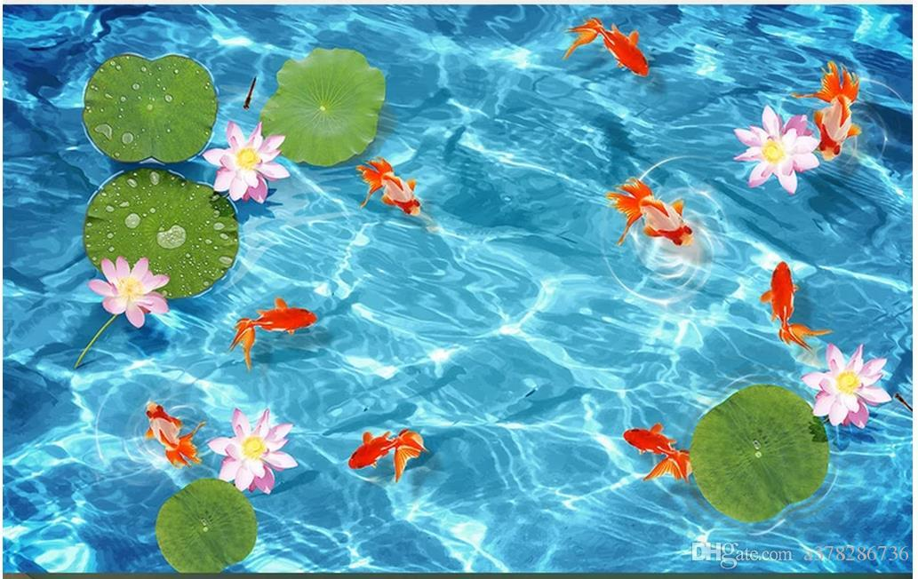 Индивидуальные 3D обои напольная живопись обои водонепроницаемый самоклеящиеся настил стикер стены 3D lotus leaf lotus девять рыбы пол