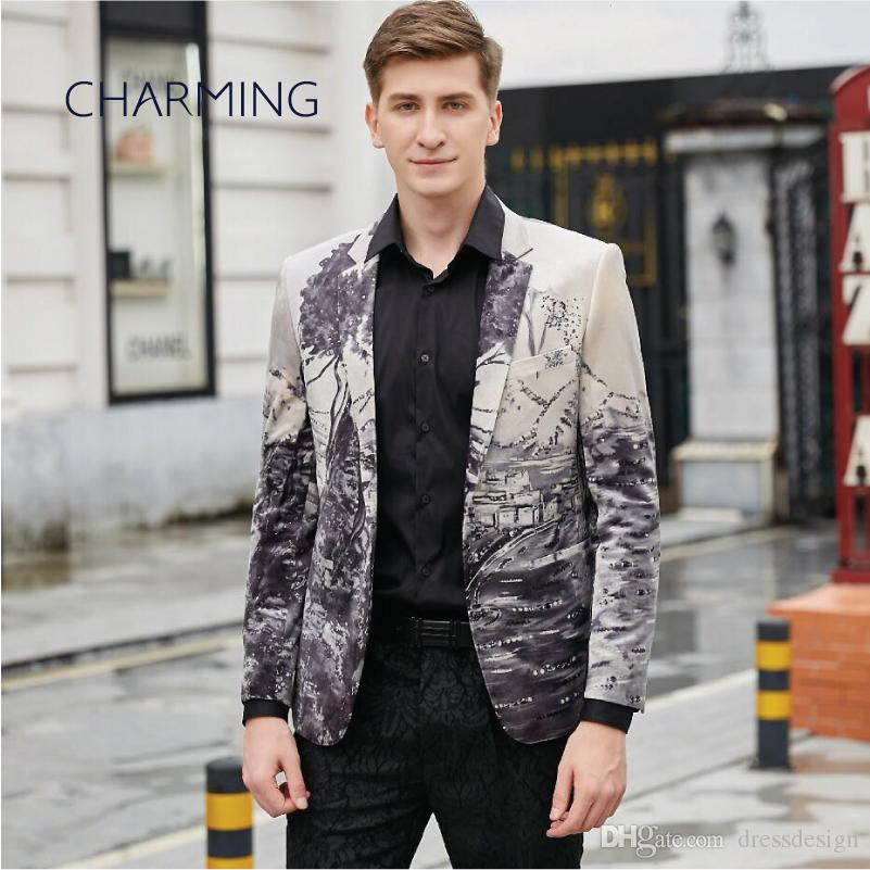 Abiti maschili, abito da uomo, abiti da uomo, tessuto lussuoso stampato in velluto, giacca gentiluomo, per cantanti, abito da festa