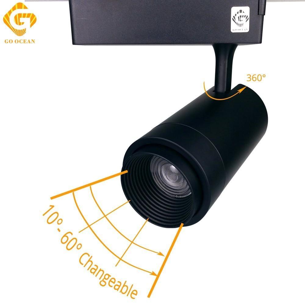 مسار الإضاءة LED مسار الضوء الثابت تكبير قابل للتعديل 20W السكك الحديدية بقعة LED تتبع أضواء السكك الحديدية مصباح آرت ديكو