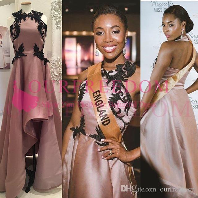 2019 Halter Szyi Dusty Różowy Prom Dresses Black Aplikacje Cześć Niski Saudyjska Arabska Formalna Wieczorna okazja Dresses Custom Made Gorąca Sprzedaż