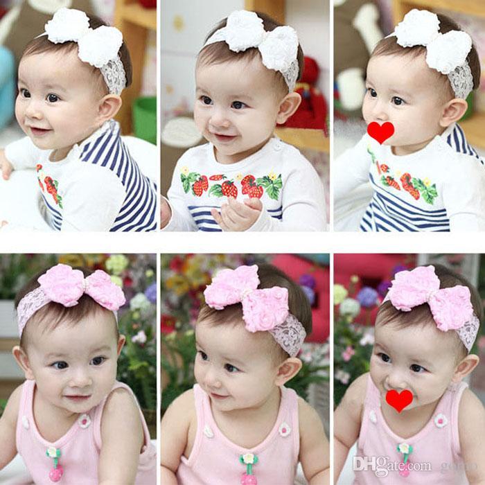 Headwear muchacha del pelo del bebé encantador del estilo de la flor de la princesa del cordón del arco accesorios para bebé para el envío libre # cabelo