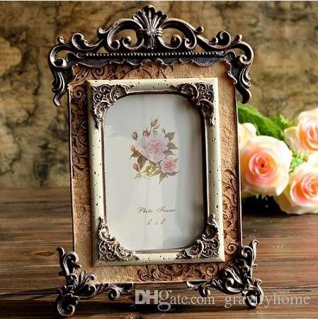 Palacio foto de la resina de la vendimia del marco estéreo marco de fotos Decoración elegante noble 6 pulgadas 16 * 26cm