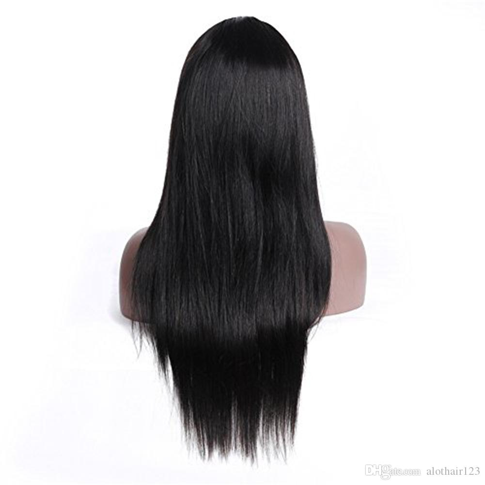 Alot Straight Full Lace Wigs Human Hair With Baby Hair Glueless Peruvian Straight Remy Pre Plucked Human Hair Wigs For Black Women