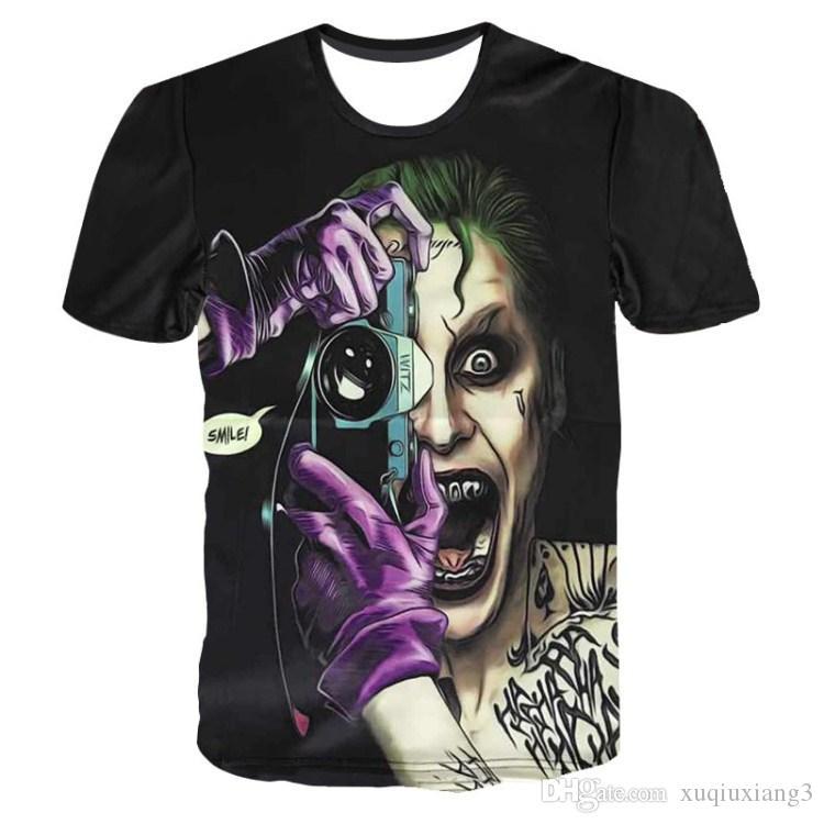 Joker 3d T-shirt Erkekler İntihar Kadro T Shirt Hip Hop Komik Tops Harley Quinn Kısa Kollu Camisetas Moda Yenilik erkek rahat t-shirt