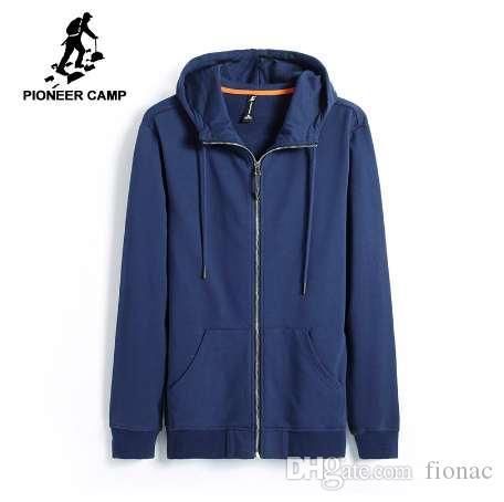 Pioneer Camp Nowa Wiosna Bluzy Mężczyźni Odzież Casualna Solidna Bluza Z Kapturem Mężczyzna Najwyższej Jakości Czarny Ciemnoniebieski Avy701206
