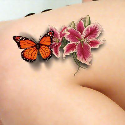 Tatuagens Desenhos 1 Peça New 3d 34 3d Borboleta Colorida Padrão De Flor Tatuagem Temporária à Prova D água De Volta Pintura Do Braço Tatoo