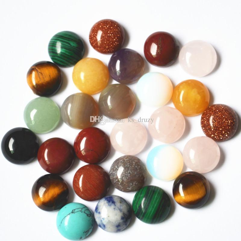 القرعه 8MM 12MM الحجر الطبيعي جولة CAB كابوشون الفيروز الوردي كريستال سحر ستون الخرز قلادة خاتم مجوهرات جعل الخرز DIY